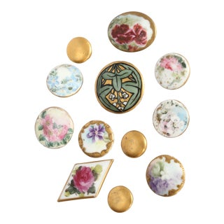 Antique Hand-Painted Porcelain Studs/Buttons - Set of 12