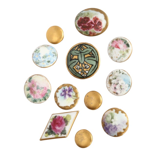 Antique Hand-Painted Porcelain Studs/Buttons - Set of 12 - Image 1 of 11