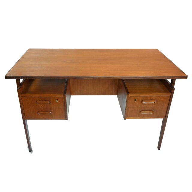 Danish modern dual sided floating desk chairish for 0co om cca 9 source table