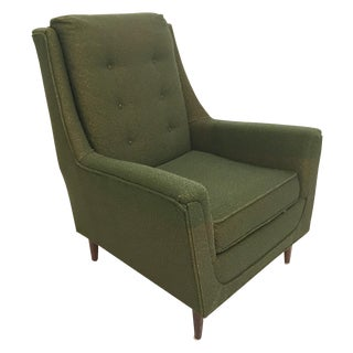 Mid Century Modern Green Upholstered Club Chair