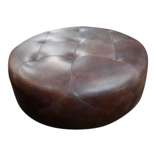 Oxford Brown Leather Ottoman, Diamond Tiled Leather
