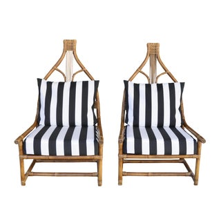 High Back Rattan Throne Chairs - A Pair