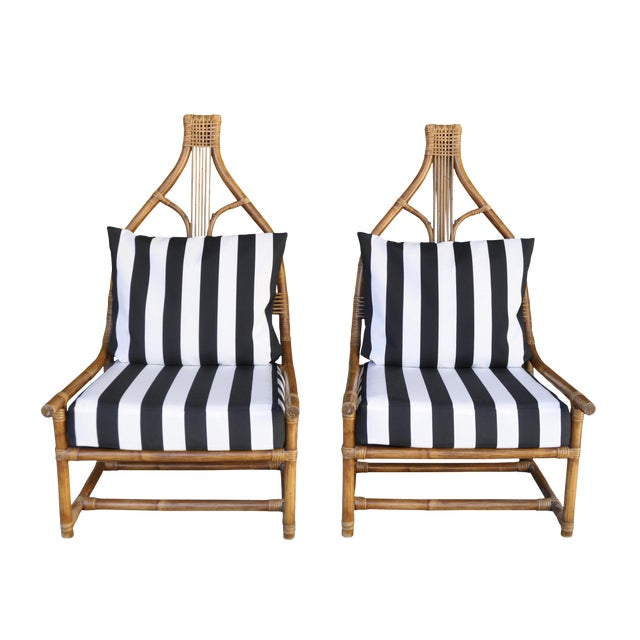 Image of High Back Rattan Throne Chairs - A Pair