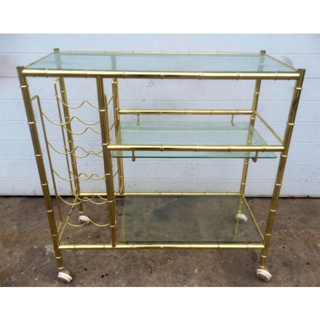 Brass Faux Bamboo Bar Cart - Image 2 of 6