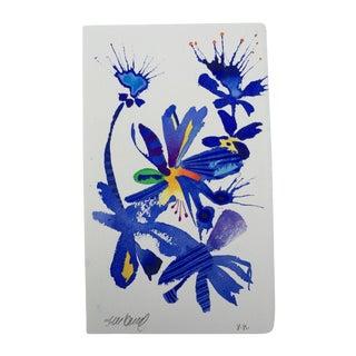"""Steve Klinkel """"Floral Bluebirds 3"""" Original Watercolor Painting"""