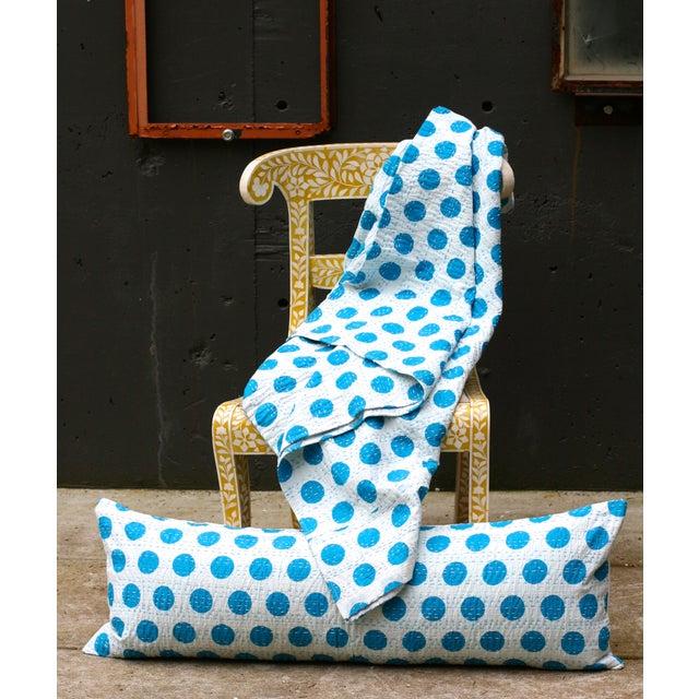 Blue Kantha Polka Dot Pillow - Image 3 of 3