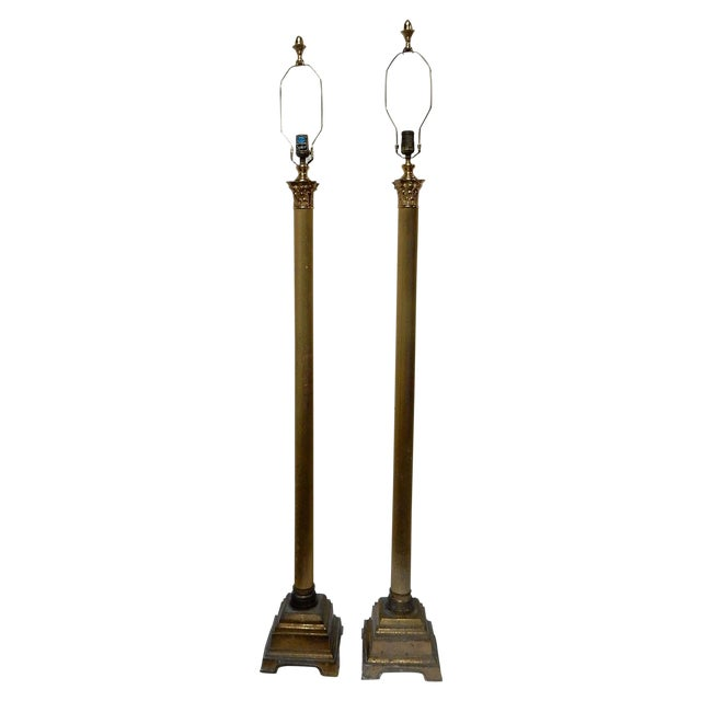 Speer Brass Floor Lamps With Harp - A Pair - Image 1 of 10