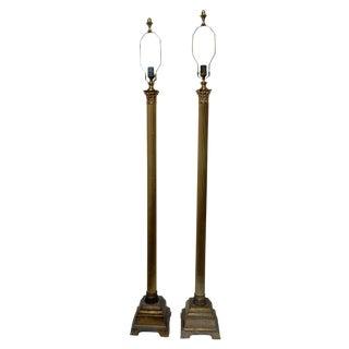 Speer Brass Floor Lamps With Harp - A Pair