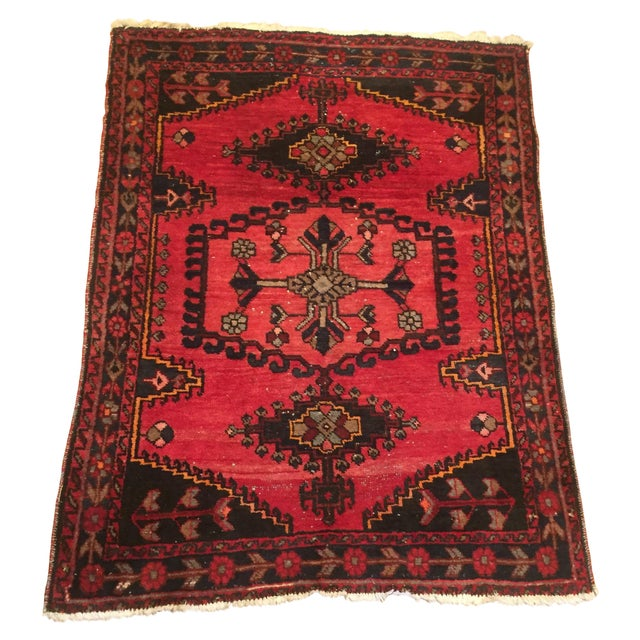 Vintage Hand-Knotted Red Rug - 3′8″ × 4′10″ - Image 1 of 6