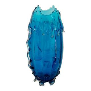Mid-Century Blue Glass Art Vase