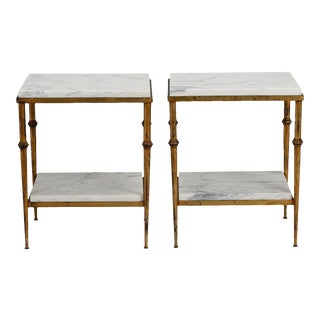Pair Spanish Gilt Metal and White Marble Side Tables