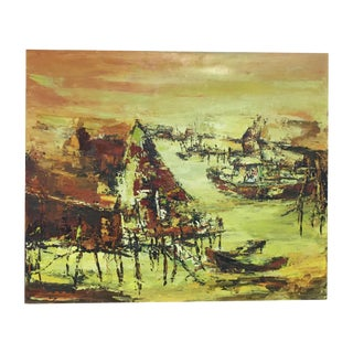Impressionist Abstract Boats Oil on Canvas
