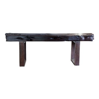 Modern Organic Natural Edge Yakisugi Reclaimed Wood Bench