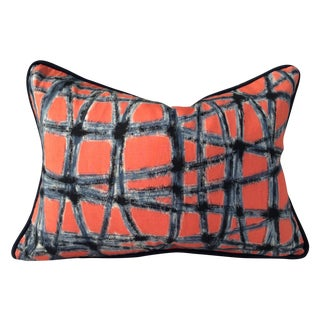Mid-Century Abstract Navy & Coral Throw Pillow