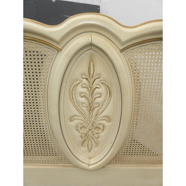 Vintage French Provincial White Cane King Sized Headboard - Image 7 of 11
