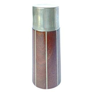 Mid-Century Wood & Steel Striped Cigerette Lighter