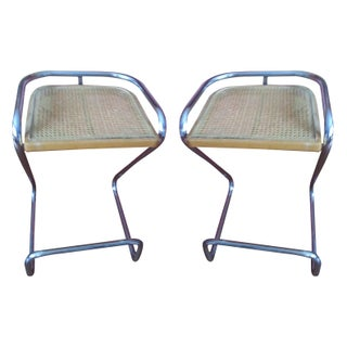 Chrome Bar Stools with Cane Seats - A Pair