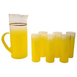 Vintage Mid-Century Modern Seven-Piece West Virginia Glass Beverage Set
