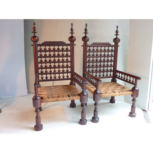 Indian Turned Rosewood Chairs - A Pair - Image 2 of 4