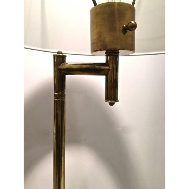 mid century brass floor lamp w cerused wood tray table chairish. Black Bedroom Furniture Sets. Home Design Ideas