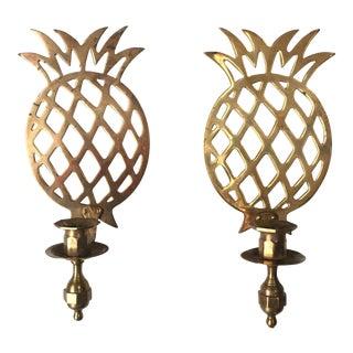 Brass Pineapple Candleholder Sconces - A Pair