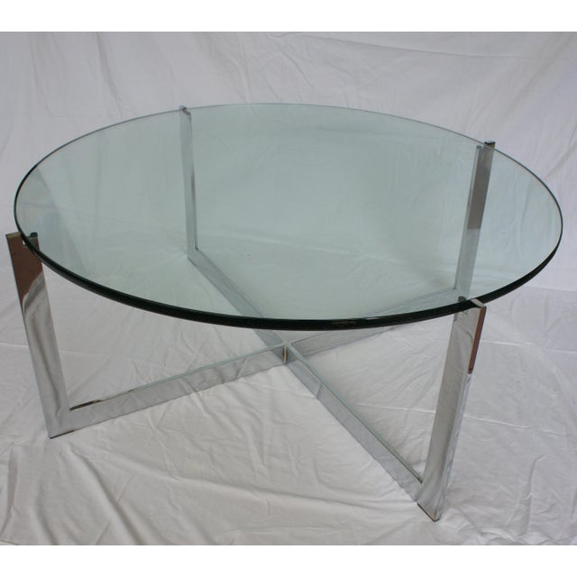 Milo Baughman Chrome & Glass Round Coffee Table - Image 6 of 11