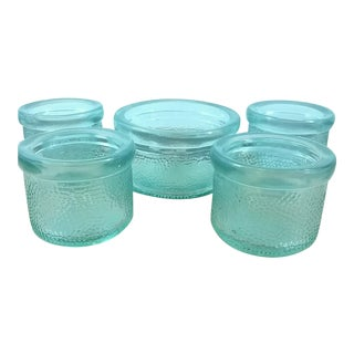 Green Textured Glass Candle Holders - Set of 5