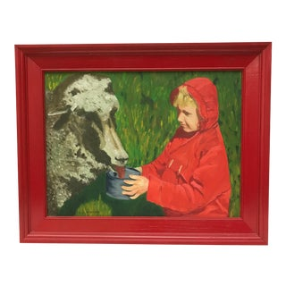 """Girl with a Lamb"" Vintage Oil Painting"