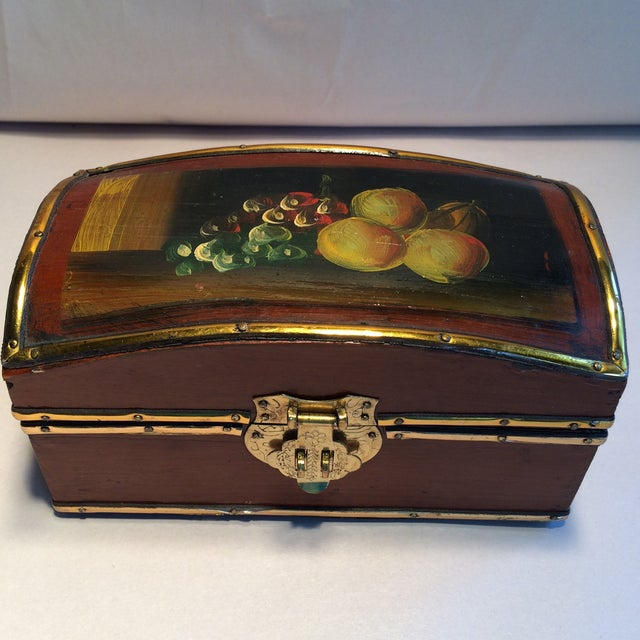 Vintage Hand Painted Fruit Motif Wooden Box - Image 2 of 11