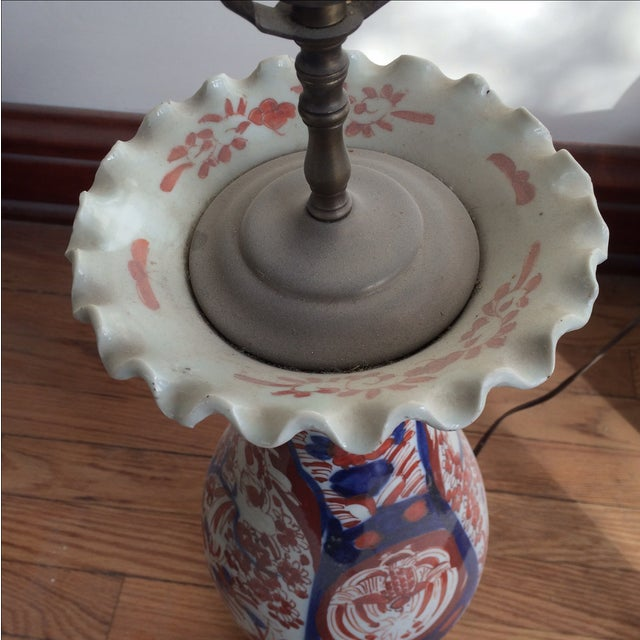 Antique Chinese Red & Blue Porcelain Table Lamp - Image 9 of 11