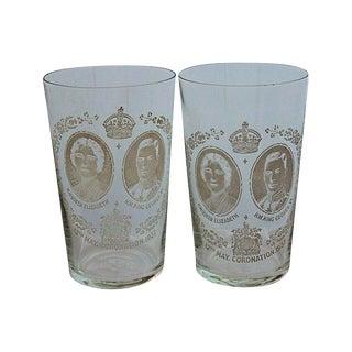 King George VI Coronation Hologram High Ball, - A Pair