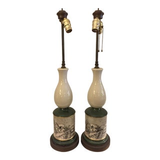McCoy Vintage Ceramic Lamps with Country Village Scene - A Pair