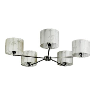 Contemporary Chandelier With White Printed Shades