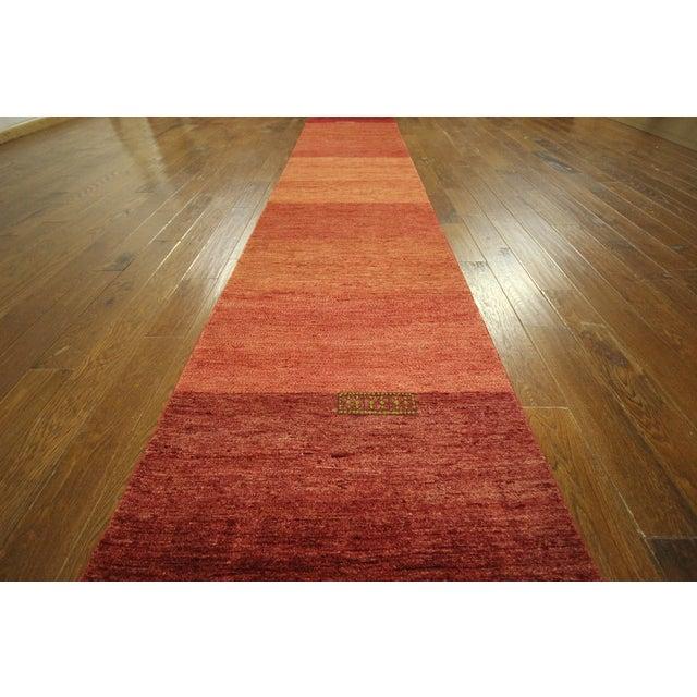 "Orange Striped Gabbeh Runner Rug - 2'10"" x 13'9"" - Image 6 of 10"