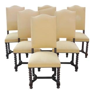 Louis XIII Style BarleyTwist Solid Walnut Dining Chairs Circa 1880s - Set of 6