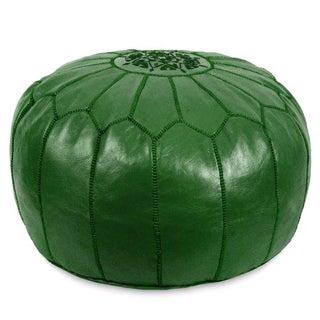 Green Moroccan Leather Pouf Ottoman