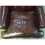 Image of Sloane Mid Century Tufted Burgundy Leather Chair