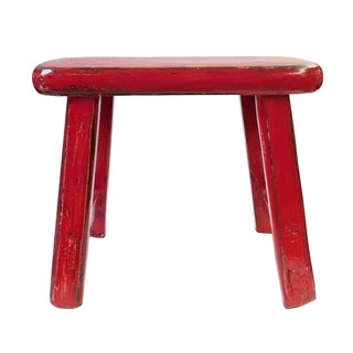 Chinese Rustic Distressed Red Wood Stool