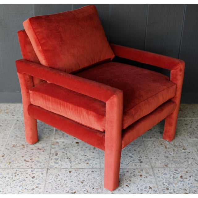 Reupholstered 1970s Mid Century Persimmon Velvet Milo Baughman Club Chair - Image 6 of 7