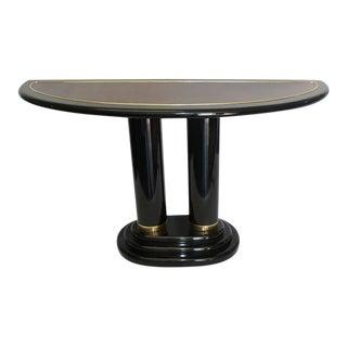 Henredon Pedestal Modern Black Lacquer Console