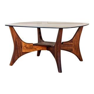 Adrian Pearsall Walnut w/ Glass Top 1649-Pt Coffee Table