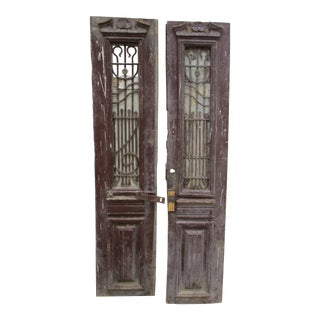 Antique 1800's French Wood & Iron Bars - A Pair