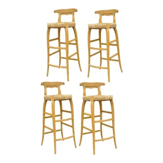 4 Garcia Imports Spain Modernist Rustic Primitive Wooden Rush Seat Bar Stools