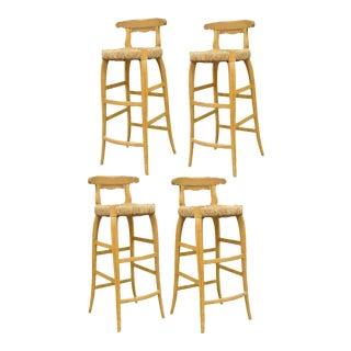 4 Garcia Imports Spain Modernist Rustic Primitive Wooden Rush Seat Bar Stools