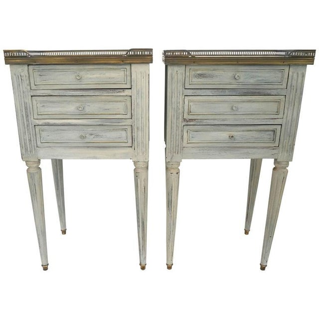 Image of Pair of Louis XVI Style Bedside Chest Painted Grey with Brass Gadroon and Marble