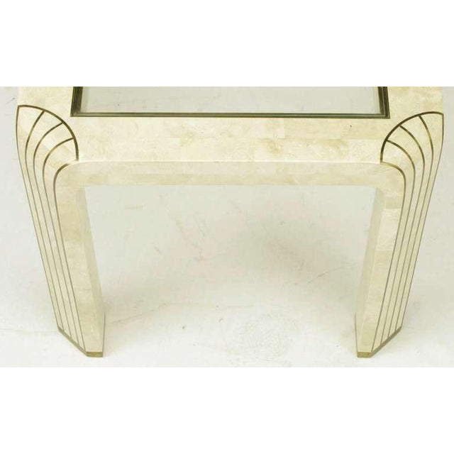Pair Tessellated Fossil Stone & Inlaid Brass Side Tables - Image 7 of 8