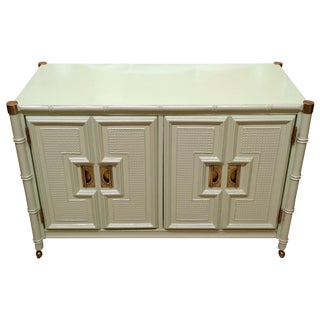 Stanley Mint Green Faux Bamboo Bar Cart
