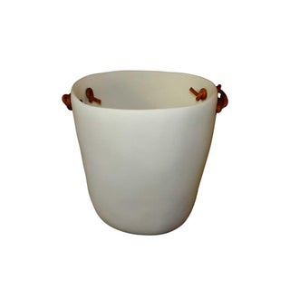 White Resin Champagne Bucket with Leather Handles