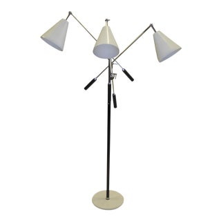 1960s Angelo Lelli Design Iconic Triennale Three Arm Articulating Floor Lamp.