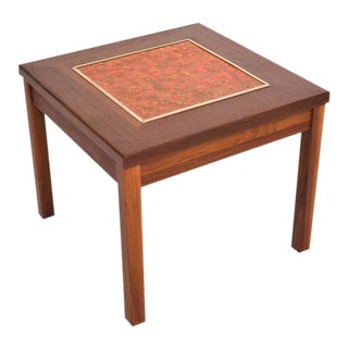 Brown Saltman Walnut Side Table with Enamel Top